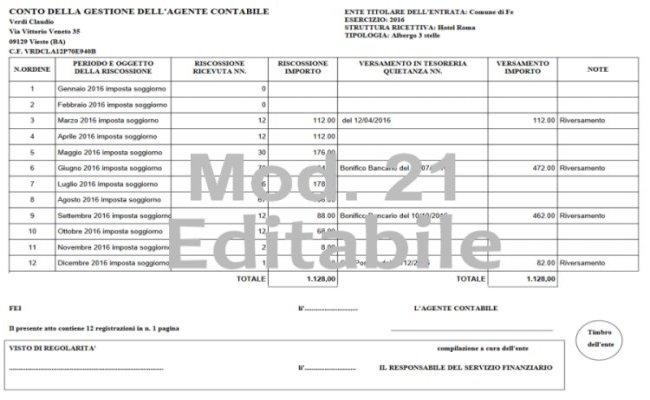 Modulistica Mod 21 Agente Contabile Struttura Ricettiva